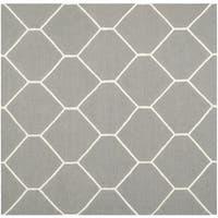 Safavieh Handwoven Moroccan Reversible Dhurrie Grey Ivory Geometric Wool Rug 6 Square