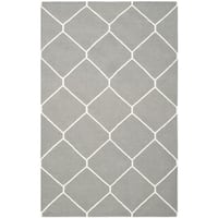Safavieh Handwoven Moroccan Reversible Dhurrie Contemporary Grey/ Ivory Wool Rug - 9' x 12'