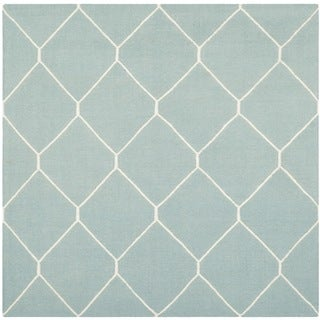Safavieh Light Blue/ Ivory Handwoven Moroccan Reversible Dhurrie Wool Area Rug (6' Square)