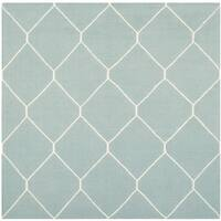 Safavieh Light Blue/ Ivory Handwoven Moroccan Reversible Dhurrie Wool Area Rug - 6' Square