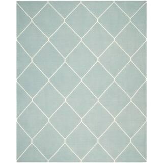 Safavieh Hand-woven Moroccan Reversible Dhurrie Light Blue/ Ivory Wool Rug (9' x 12')|https://ak1.ostkcdn.com/images/products/8402559/8402559/Safavieh-Hand-woven-Moroccan-Dhurrie-Light-Blue-Ivory-Wool-Rug-9-x-12-P15703203.jpg?impolicy=medium