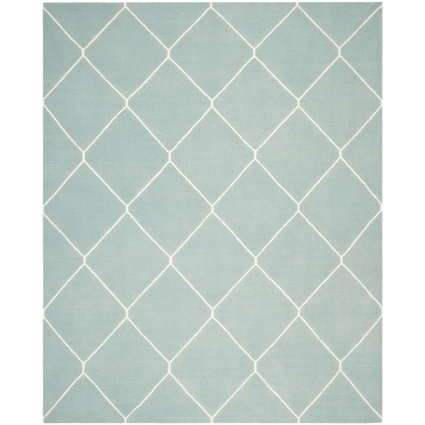 Safavieh Hand-woven Moroccan Reversible Dhurrie Light Blue/ Ivory Wool Rug - 9' x 12'
