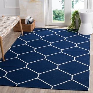 Safavieh Handwoven Moroccan Reversible Dhurrie Navy/ Ivory Wool Geometric Area Rug (9' x 12')|https://ak1.ostkcdn.com/images/products/8402563/P15703207.jpg?impolicy=medium