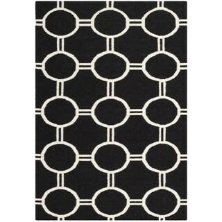 Safavieh Handwoven Moroccan Reversible Dhurrie Black/ Ivory Wool Area Rug (6' x 9')