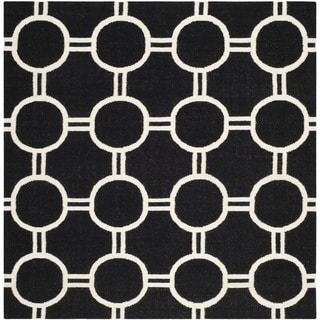 Safavieh Hand-woven Moroccan Reversible Dhurrie Black/ Ivory Wool Rug (6' Square)