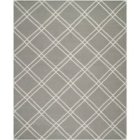 Safavieh Contemporary Safavieh Handwoven Moroccan Reversible Dhurrie Grey/ Ivory Wool Rug - 5' x 8'