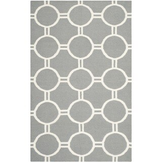 Safavieh Handwoven Moroccan Reversible Dhurrie Grey/ Ivory Wool Area Rug (3' x 5')