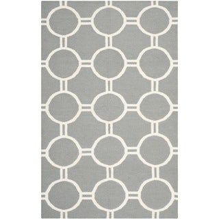 Safavieh Hand-woven Moroccan Reversible Dhurrie Grey/ Ivory Wool Rug (9' x 12')