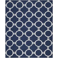 Safavieh Hand-woven Moroccan Reversible Dhurrie Navy/ Ivory Wool Rug - 9' x 12'