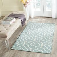Safavieh Hand-woven Moroccan Reversible Dhurrie Light Blue/ Ivory Contemporary Wool Rug - 4' x 6'