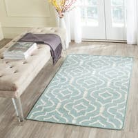 Safavieh Hand-woven Moroccan Reversible Dhurrie Light Blue/ Ivory Wool Area Rug - 5' x 8'