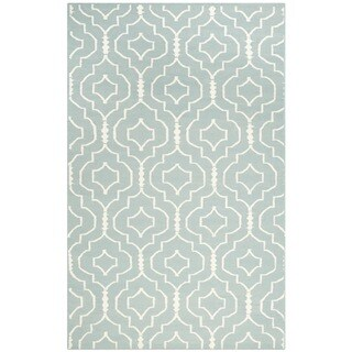 Safavieh Handwoven Moroccan Reversible Dhurrie Trellis-pattern Light Blue/ Ivory Wool Rug (6' x 9')