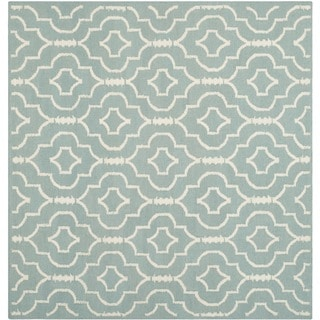 Safavieh Light Blue/ Ivory Handwoven Moroccan Reversible Dhurrie Geometric Wool Rug (6' Square)