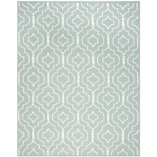 Safavieh Contemporary Handwoven Moroccan Reversible Dhurrie Light Blue/ Ivory Wool Rug (8' x 10')
