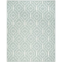 Safavieh Contemporary Handwoven Moroccan Reversible Dhurrie Light Blue/ Ivory Wool Rug - 8' x 10'