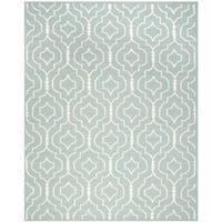 Safavieh Handwoven Moroccan Reversible Dhurrie Trellis-pattern Light Blue/ Ivory Wool Rug - 9' x 12'