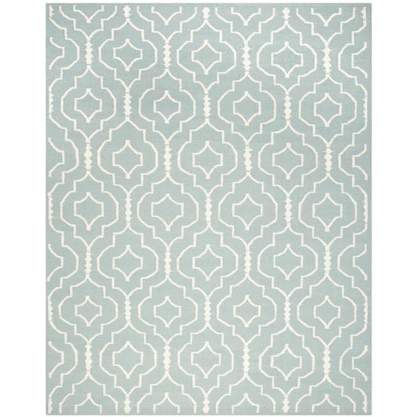 Safavieh Handwoven Moroccan Reversible Dhurrie Trellis-pattern Light Blue/ Ivory Wool Rug - 9' x 12'