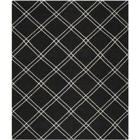 Safavieh Hand-woven Moroccan Reversible Dhurrie Black/ Ivory Wool Rug - 8' x 10'