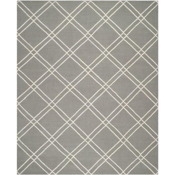 Safavieh Handwoven Moroccan Reversible Dhurrie Grey/ Ivory Wool Geometric-pattern Rug - 8' x 10'