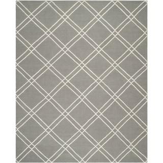 Safavieh Handwoven Moroccan Reversible Dhurrie Geometric Grey/ Ivory Wool Rug (9' x 12')