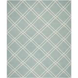 Safavieh Handwoven Moroccan Reversible Dhurrie Crisscross-pattern Light Blue/ Ivory Wool Rug (6' x 9