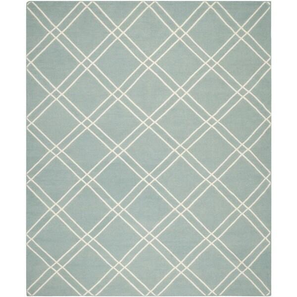 Safavieh Handwoven Moroccan Reversible Dhurrie Crisscross-pattern Light Blue/ Ivory Wool Rug - 6' x 9'