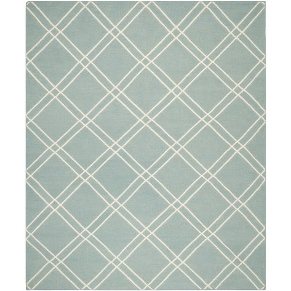 Safavieh Geometric Handwoven Moroccan Reversible Dhurrie Light Blue/ Ivory Wool Rug - 8' x 10'
