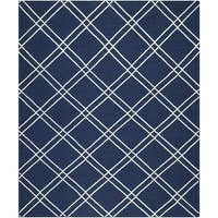 Safavieh Handwoven Moroccan Reversible Dhurrie Contemporary Navy/ Ivory Wool Rug - 6' x 9'