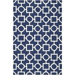 Safavieh Hand-woven Moroccan Reversible Dhurrie Navy/ Ivory Wool Rug (5' x 8')