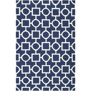 Safavieh Hand-woven Moroccan Reversible Dhurrie Navy/ Ivory Wool Rug (6' x 9')