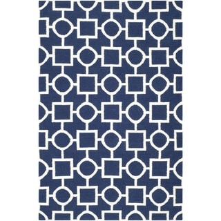 Safavieh Hand-woven Moroccan Reversible Dhurrie Navy/ Ivory Wool Rug (8' x 10')