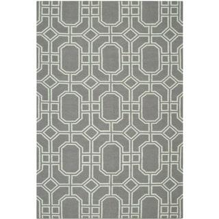Safavieh Hand-woven Moroccan Reversible Dhurrie Grey/ Light Blue Wool Rug (6' x 9')