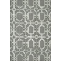 Safavieh Hand-woven Moroccan Reversible Dhurrie Grey/ Light Blue Wool Rug - 6' x 9'