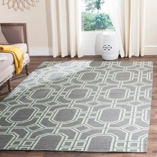 Safavieh Hand-woven Moroccan Reversible Dhurrie Grey/ Light Blue Wool Rug (8' x 10')