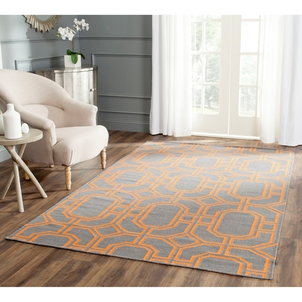 Safavieh Hand-woven Moroccan Reversible Dhurrie Blue/ Orange Wool Rug - 8' x 10'
