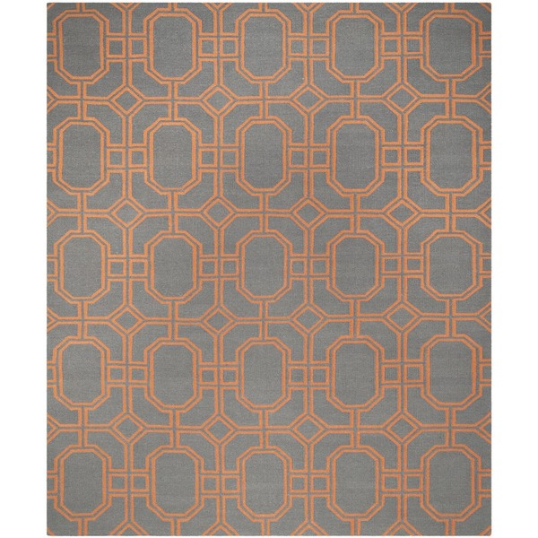Safavieh Hand-woven Moroccan Reversible Dhurrie Blue/ Orange Wool Rug - 8' x 10'