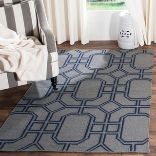 Safavieh Hand-woven Moroccan Reversible Dhurrie Grey/ Dark Blue Wool Rug (5' x 8')
