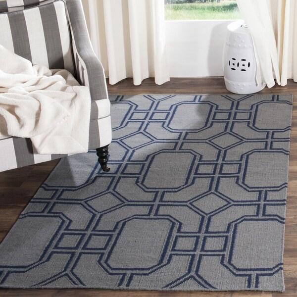 Safavieh Hand Woven Moroccan Reversible Dhurrie Grey Dark Blue Wool Rug 5