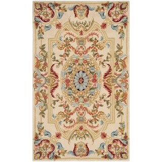 Safavieh Handmade Savonnerie Sage/ Beige Wool Rug (3' x 5')