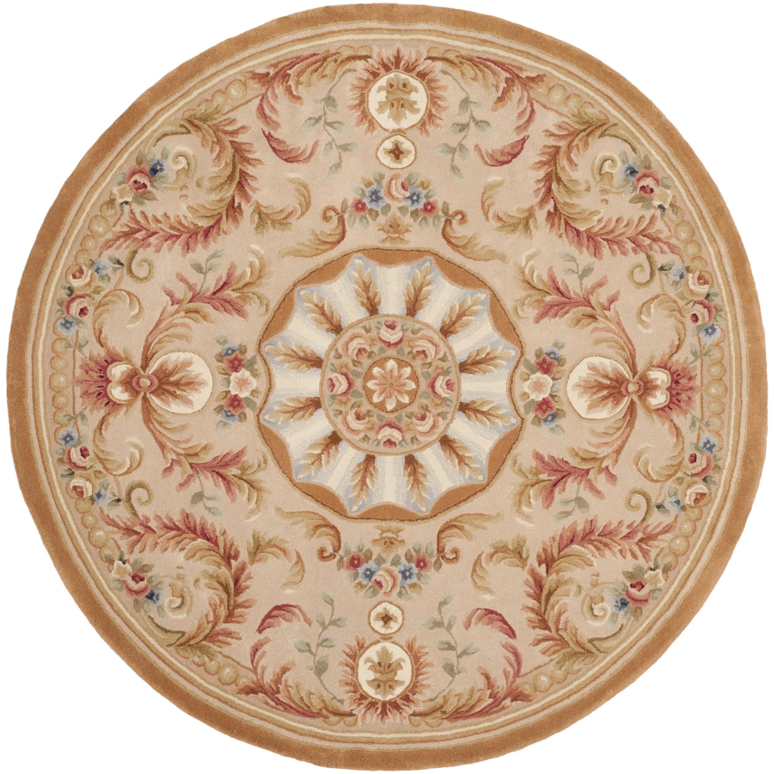 Safavieh Handmade Savonnerie Beige/ Gold Wool Rug (6' Rou...