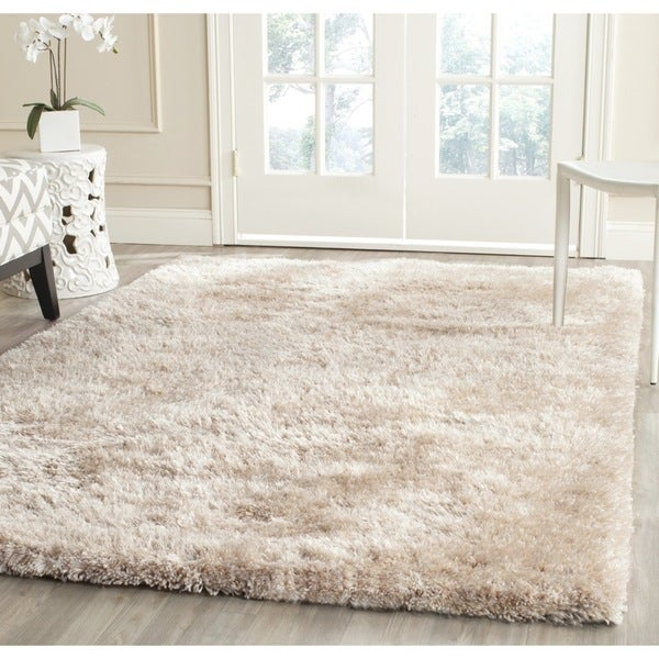 Beautiful Safavieh Handmade South Beach Shag Champagne Polyester Rug (8u0026#x27; ...