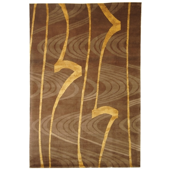 Safavieh Hand-knotted Tibetan Contemporary Abstract Brown/ Gold Wool/ Silk Rug - 9' x 12'