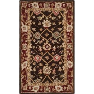 Safavieh Handmade Taj Mahal Olive/ Burgundy Wool Rug (3' x 5')