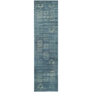 Safavieh Vintage Turquoise/ Multi Distressed Panels Silky Viscose Rug (2'2 x 8')