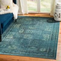 Safavieh Vintage Turquoise/ Multi Distressed Panels Silky Viscose Rug (4' x 5'7)