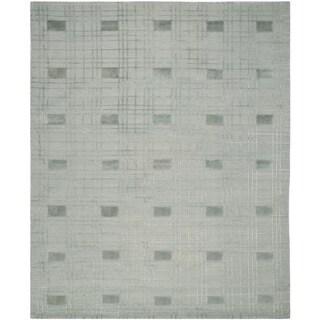 Safavieh Hand-knotted Tibetan Geometric Seafoam Wool Rug (9' x 12')