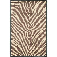 Safavieh Hand-knotted Tibetan Animal Print Black/ Ivory Wool Rug - 8' x 10'