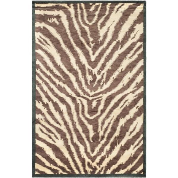 Safavieh Hand-knotted Tibetan Animal Print Black/ Ivory Wool Rug - 8' x 10'