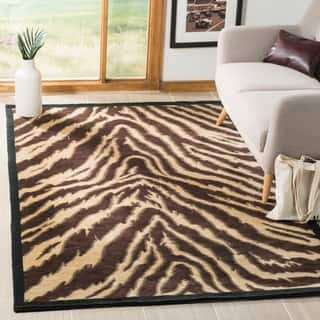 Safavieh Hand Knotted Tibetan Animal Print Black Ivory Wool Rug 9 X