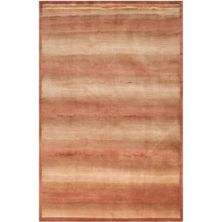 Safavieh Hand-knotted Tibetan Contemporary Striped Multicolored Wool/ Silk Rug (9' x 12')